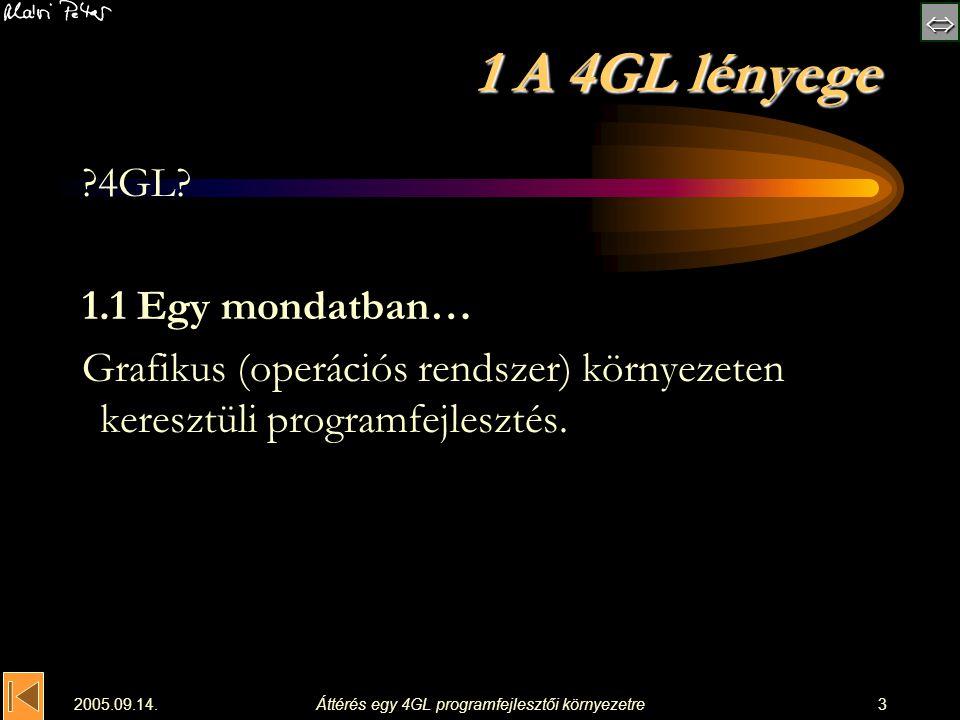  2005.09.14.Áttérés egy 4GL programfejlesztői környezetre24 5 Programfelépítés unit1.pas: unit Unit1; {$mode objfpc}{$H+} interface uses MenusStdCtrls … Menus, StdCtrls; type { TEgyszeruEsTipikus } TEgyszeruEsTipikus = class(TForm) LabelBe: TLabel; LabelBe: TLabel; MemoBe: TMemo; MemoBe: TMemo; LabelKi: TLabel; LabelKi: TLabel; MemoKi: TMemo; MemoKi: TMemo; MainMenu1: TMainMenu; MainMenu1: TMainMenu; MenuItem1: TMenuItem; (* Vezérlés -- Főmenü *) MenuItem1: TMenuItem; (* Vezérlés -- Főmenü *) MenuItem4: TMenuItem; (* Paraméterbeolvasás *) MenuItem4: TMenuItem; (* Paraméterbeolvasás *) … procedure MenuItem4Click( Sender: TObject); procedure MenuItem4Click( Sender: TObject); … private { private declarations } public { public declarations } end; var EgyszeruEsTipikus: TEgyszeruEsTipikus; implementation { TEgyszeruEsTipikus } procedure TEgyszeruEsTipikus.Menu Item4Click(Sender: TObject); (* Paraméterbeolvasás *) (* Paraméterbeolvasás *)begin (* itt olvassuk be a paramétereket *) (* itt olvassuk be a paramétereket *) MenuItem2.Enabled:=True; (* a Feldolgozás most már kiválasztható *) MenuItem2.Enabled:=True; (* a Feldolgozás most már kiválasztható *) MenuItem6.Enabled:=False; (* Paraméterbeovasás után az Ered- ménykiírás nem választható ki *) MenuItem6.Enabled:=False; (* Paraméterbeovasás után az Ered- ménykiírás nem választható ki *) ShowMessage( A paramétereket beolvastuk. ); ShowMessage( A paramétereket beolvastuk. ); end; … initialization {$I unit1.lrs} end.