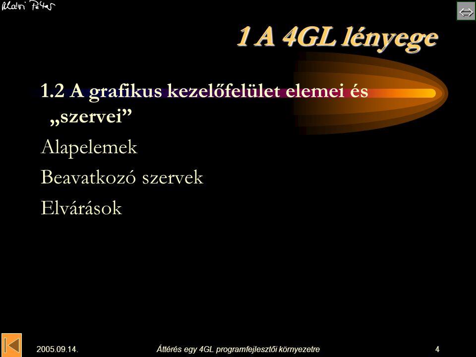  2005.09.14.Áttérés egy 4GL programfejlesztői környezetre15 5 Programfelépítés projekt_0.lpr: {$mode objfpc}{$H+} uses Interfaces, // this includes the LCL widgetset Forms { add your units here }, Unit1; begin Application.Initialize; Application.CreateForm(TForm1, Form1);Form1 Application.Run; end.