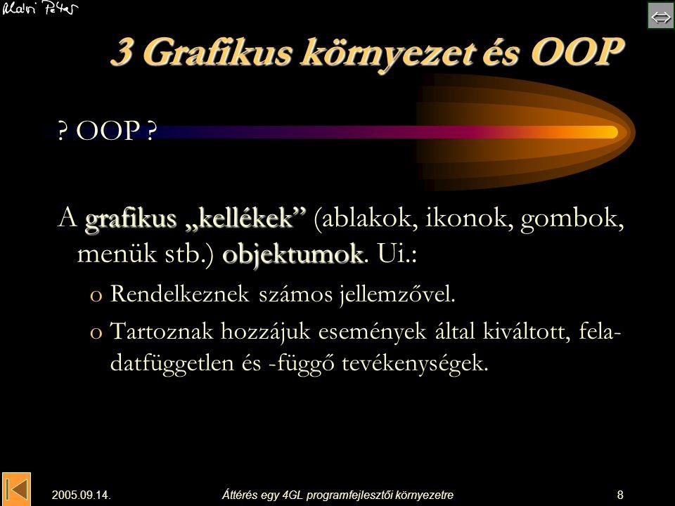 """ 2005.09.14.Áttérés egy 4GL programfejlesztői környezetre8 3 Grafikus környezet és OOP ? OOP ? grafikus """"kellékek"""" objektumok A grafikus """"kellékek"""