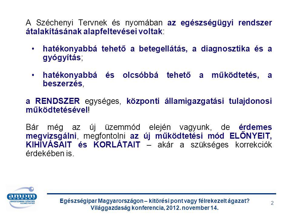 Egészségipar Magyarországon – kitörési pont vagy félrekezelt ágazat? Világgazdaság konferencia, 2012. november 14. 2 A Széchenyi Tervnek és nyomában a