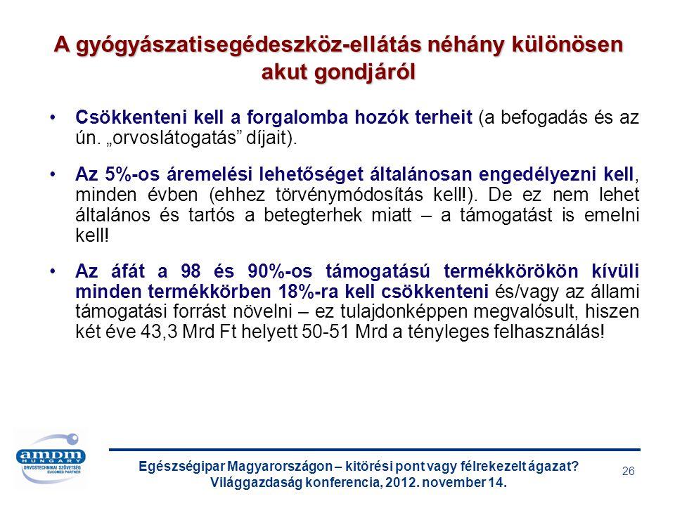 Egészségipar Magyarországon – kitörési pont vagy félrekezelt ágazat? Világgazdaság konferencia, 2012. november 14. 26 Csökkenteni kell a forgalomba ho
