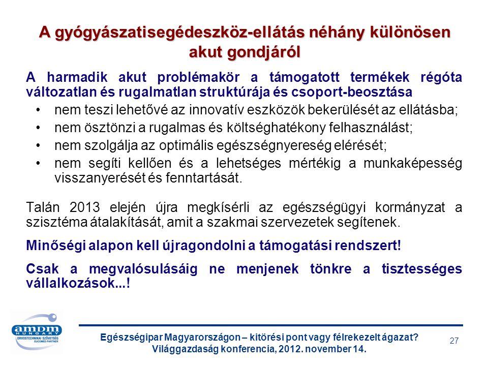 Egészségipar Magyarországon – kitörési pont vagy félrekezelt ágazat? Világgazdaság konferencia, 2012. november 14. 27 A harmadik akut problémakör a tá