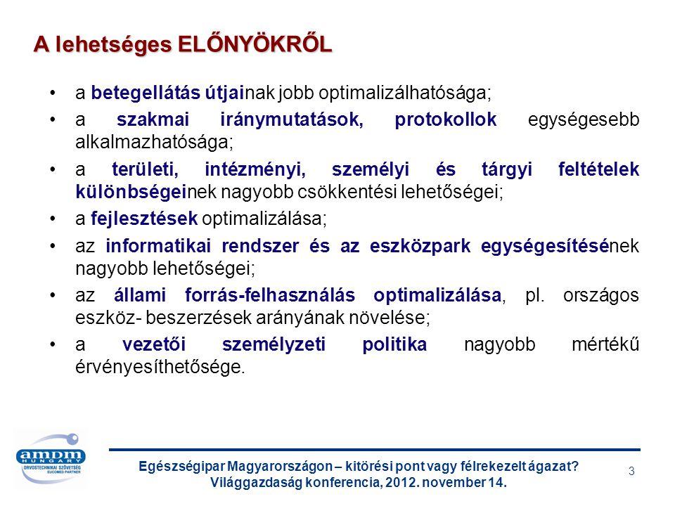 Egészségipar Magyarországon – kitörési pont vagy félrekezelt ágazat? Világgazdaság konferencia, 2012. november 14. 3 a betegellátás útjainak jobb opti