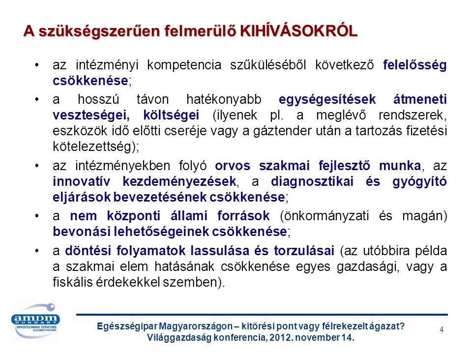 Egészségipar Magyarországon – kitörési pont vagy félrekezelt ágazat? Világgazdaság konferencia, 2012. november 14. 4 az intézményi kompetencia szűkülé