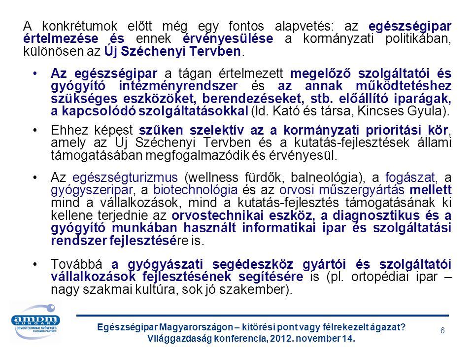 Egészségipar Magyarországon – kitörési pont vagy félrekezelt ágazat? Világgazdaság konferencia, 2012. november 14. 6 A konkrétumok előtt még egy fonto