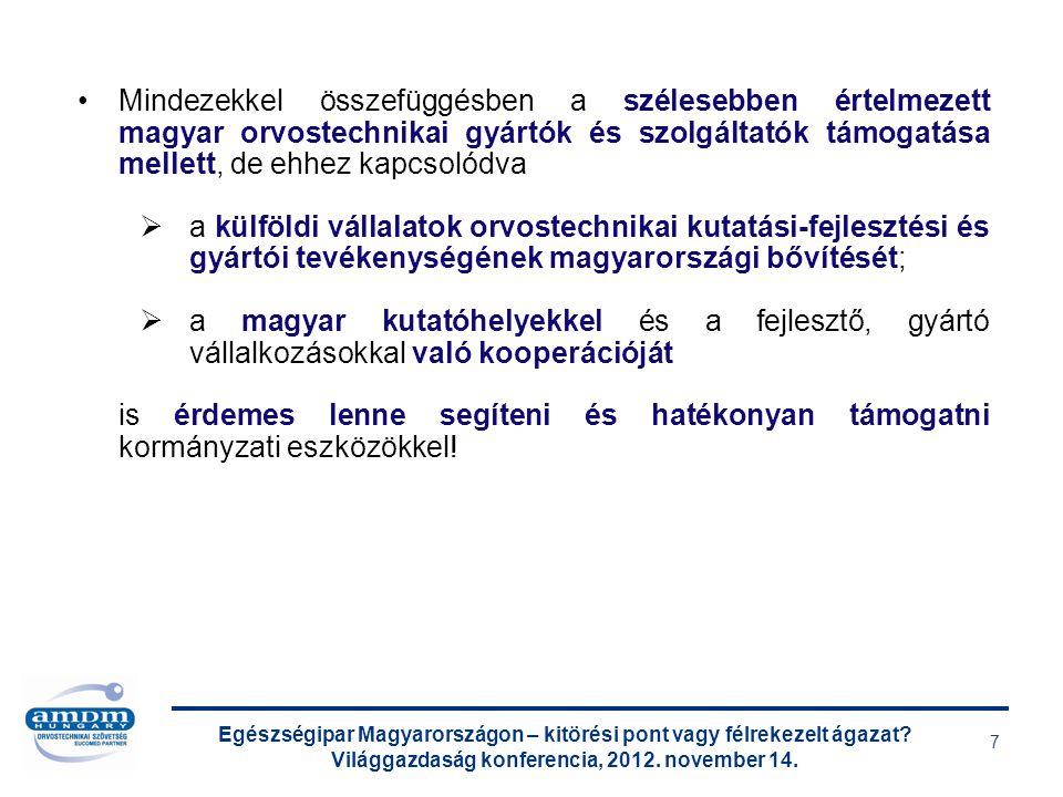Egészségipar Magyarországon – kitörési pont vagy félrekezelt ágazat? Világgazdaság konferencia, 2012. november 14. 7 Mindezekkel összefüggésben a szél