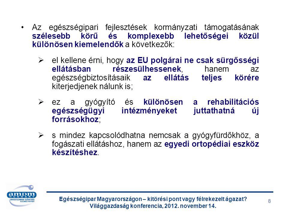 Egészségipar Magyarországon – kitörési pont vagy félrekezelt ágazat? Világgazdaság konferencia, 2012. november 14. 8 Az egészségipari fejlesztések kor