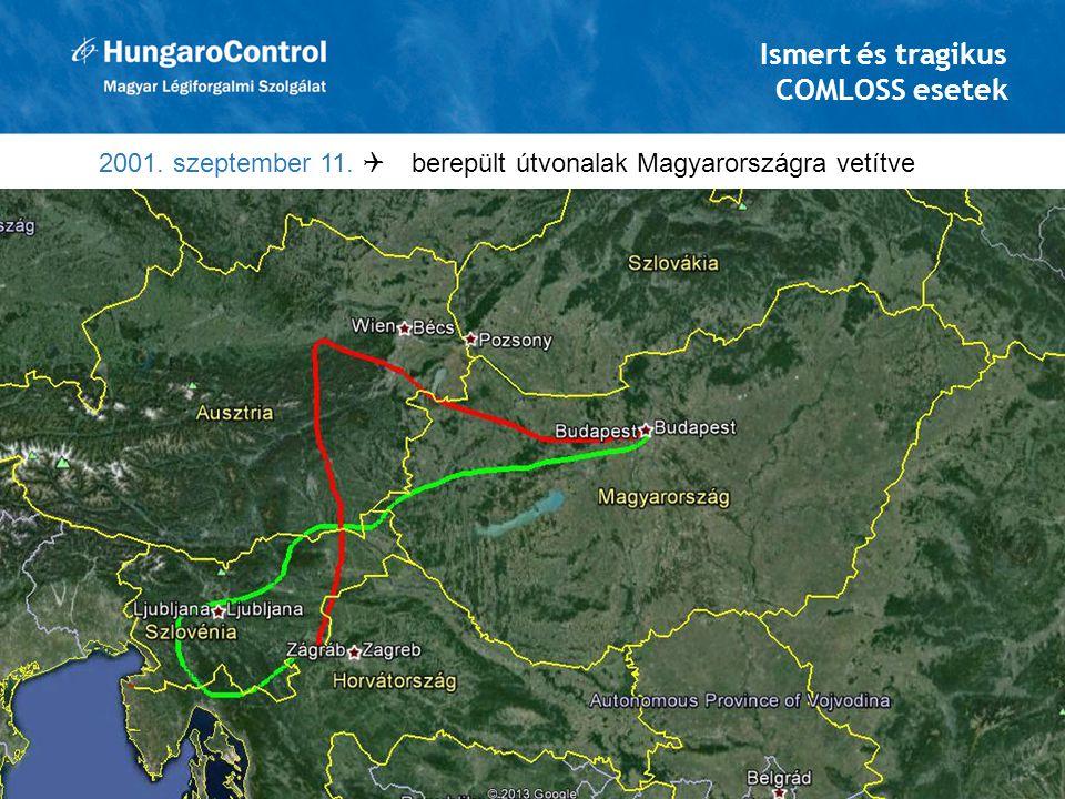 Ismert és tragikus COMLOSS esetek 2001. szeptember 11.  berepült útvonalak Magyarországra vetítve 10