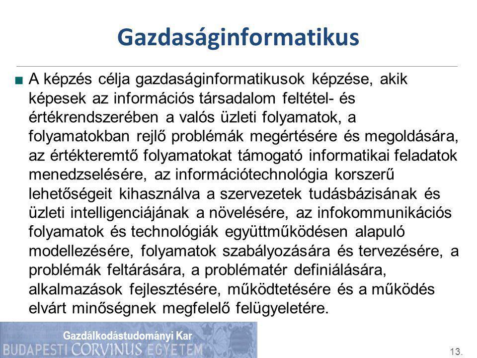 Gazdálkodástudományi Kar Gazdaságinformatikus ■A képzés célja gazdaságinformatikusok képzése, akik képesek az információs társadalom feltétel- és érté