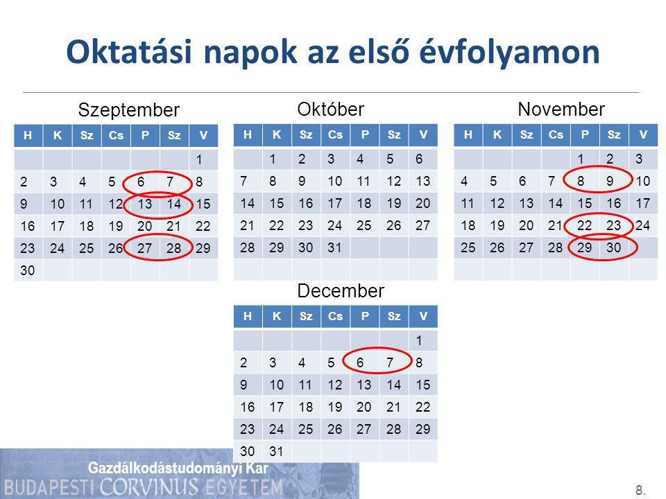 Gazdálkodástudományi Kar Oktatási napok az első évfolyamon 8. Szeptember HKSzCsPSzV 1 2345678 9101112131415 16171819202122 23242526272829 30 Október H