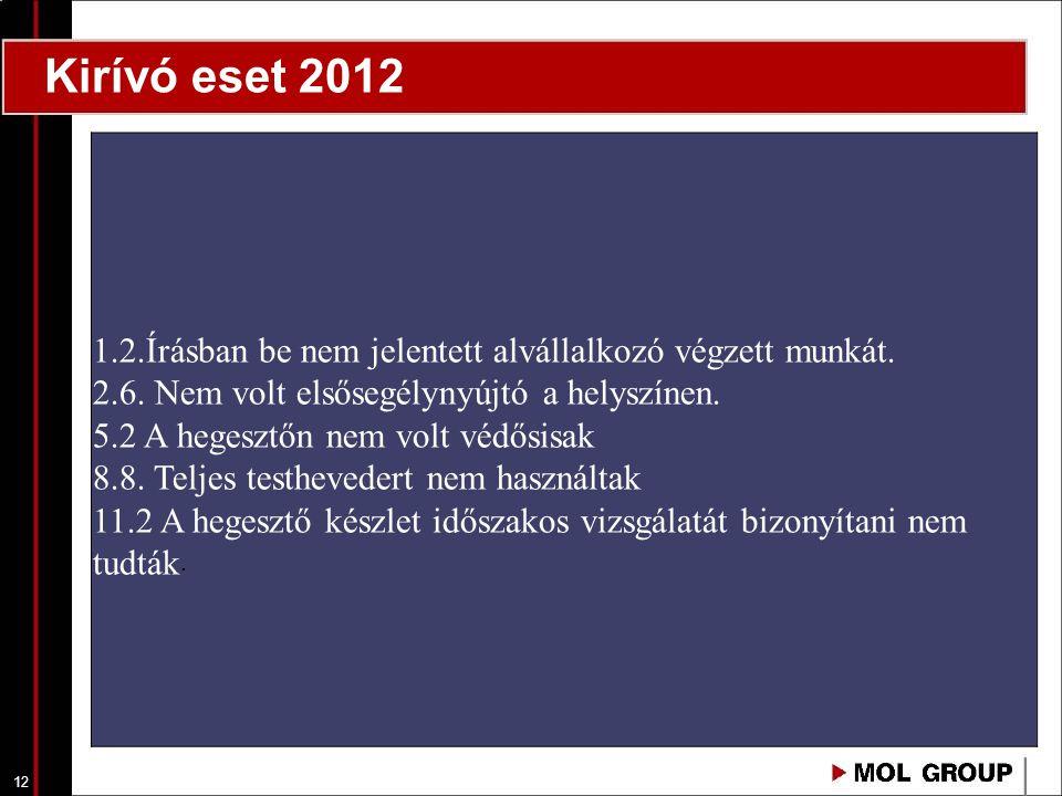 12 Kirívó eset 2012 1.2.Írásban be nem jelentett alvállalkozó végzett munkát. 2.6. Nem volt elsősegélynyújtó a helyszínen. 5.2 A hegesztőn nem volt vé