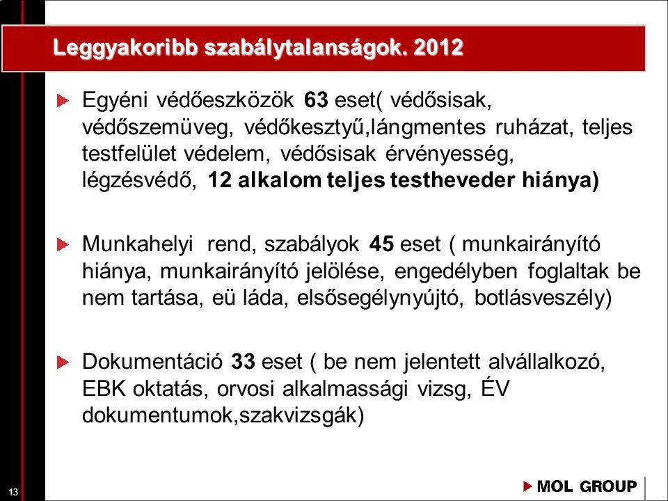13 Leggyakoribb szabálytalanságok. 2012 Egyéni védőeszközök 63 eset( védősisak, védőszemüveg, védőkesztyű,lángmentes ruházat, teljes testfelület védel