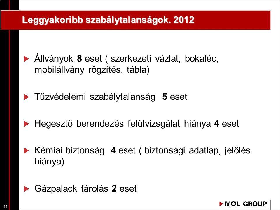 14 Leggyakoribb szabálytalanságok. 2012 Állványok 8 eset ( szerkezeti vázlat, bokaléc, mobilállvány rögzítés, tábla) Tűzvédelemi szabálytalanság 5 ese