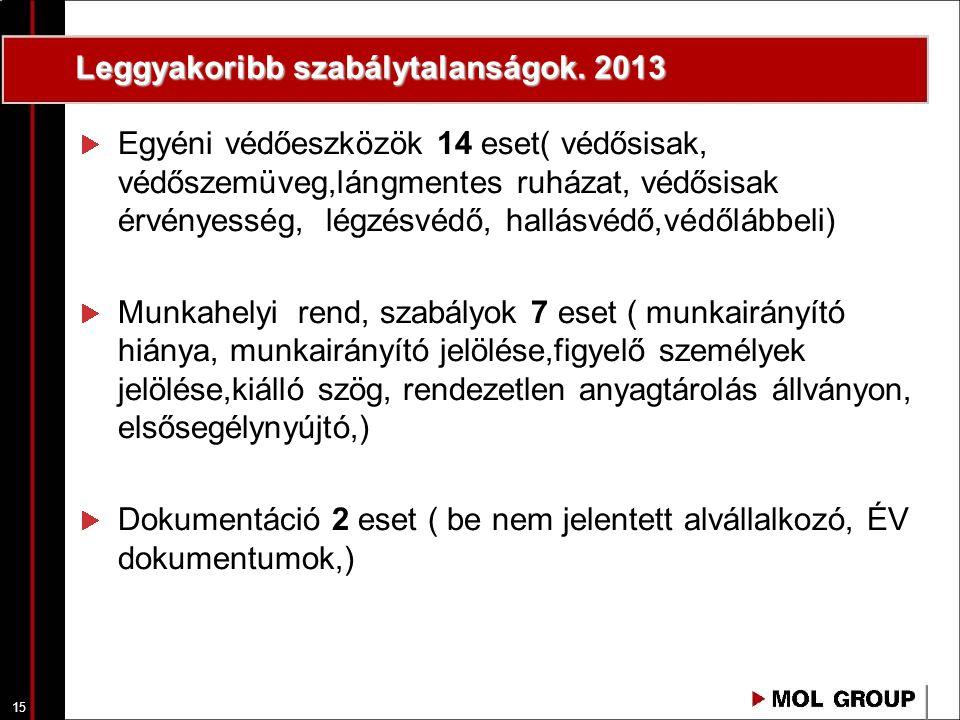 15 Leggyakoribb szabálytalanságok. 2013 Egyéni védőeszközök 14 eset( védősisak, védőszemüveg,lángmentes ruházat, védősisak érvényesség, légzésvédő, ha
