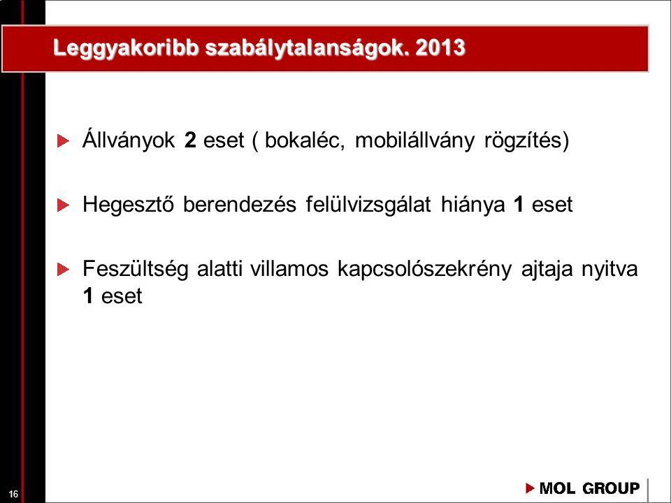 16 Leggyakoribb szabálytalanságok. 2013 Állványok 2 eset ( bokaléc, mobilállvány rögzítés) Hegesztő berendezés felülvizsgálat hiánya 1 eset Feszültség