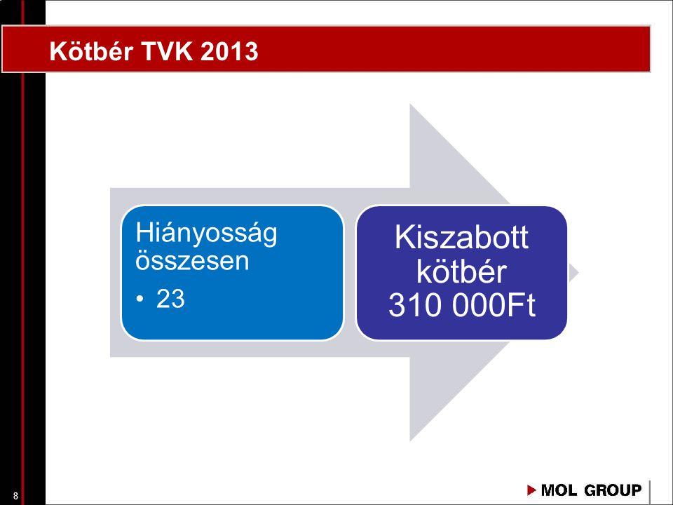 8 Hiányosság összesen 23 Kiszabott kötbér 310 000Ft Kötbér TVK 2013