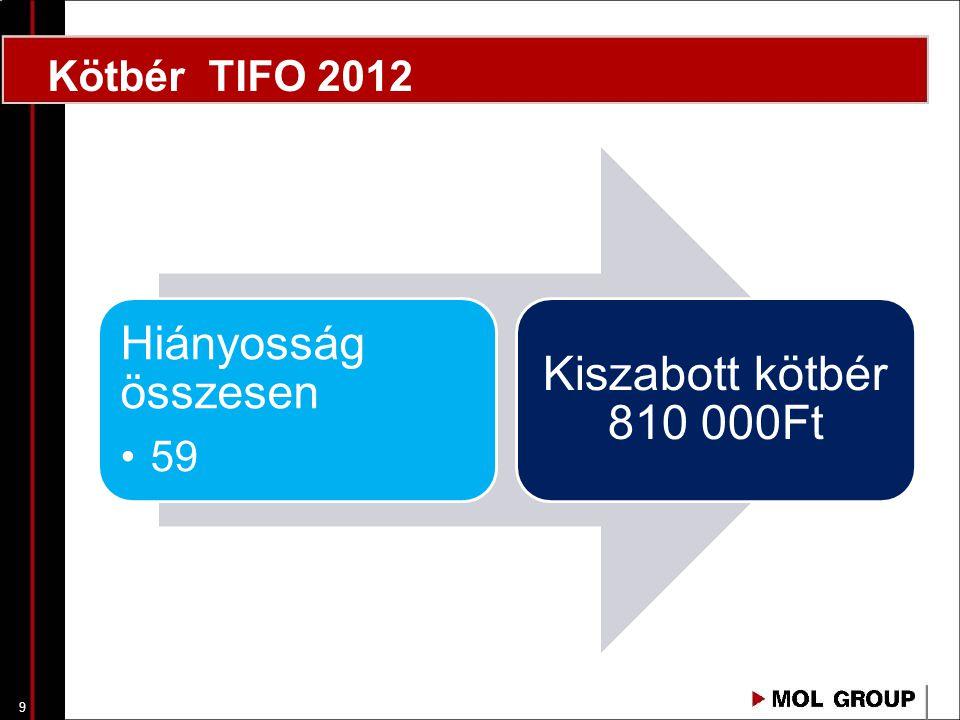 10 Hiányosság összesen 4 Kiszabott kötbér 260 000Ft Kötbér TIFO 2013