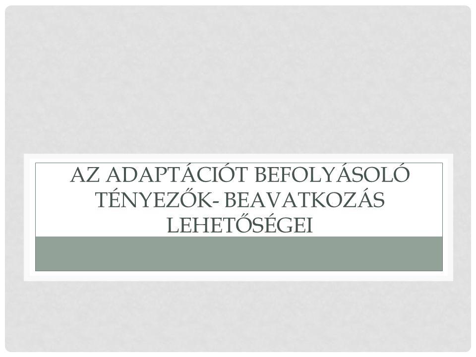 AZ ADAPTÁCIÓT BEFOLYÁSOLÓ TÉNYEZŐK- BEAVATKOZÁS LEHETŐSÉGEI