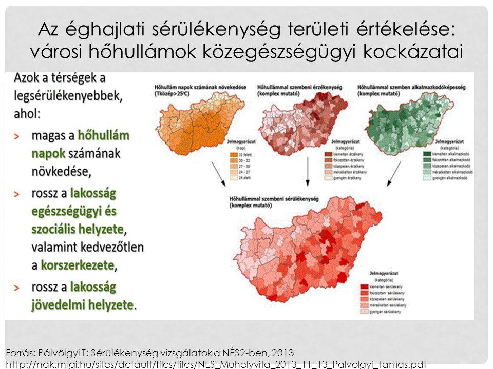 Forrás: Pálvölgyi T: Sérülékenység vizsgálatok a NÉS2-ben, 2013 http://nak.mfgi.hu/sites/default/files/files/NES_Muhelyvita_2013_11_13_Palvolgyi_Tamas.pdf Az éghajlati sérülékenység területi értékelése: városi hőhullámok közegészségügyi kockázatai