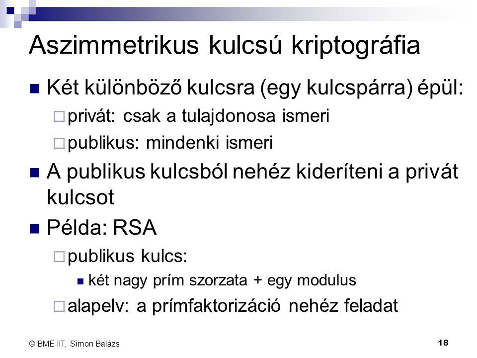 Aszimmetrikus kulcsú kriptográfia Két különböző kulcsra (egy kulcspárra) épül:  privát: csak a tulajdonosa ismeri  publikus: mindenki ismeri A publi