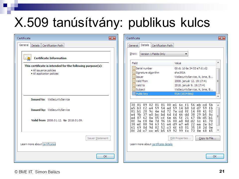 X.509 tanúsítvány: publikus kulcs 21 © BME IIT, Simon Balázs