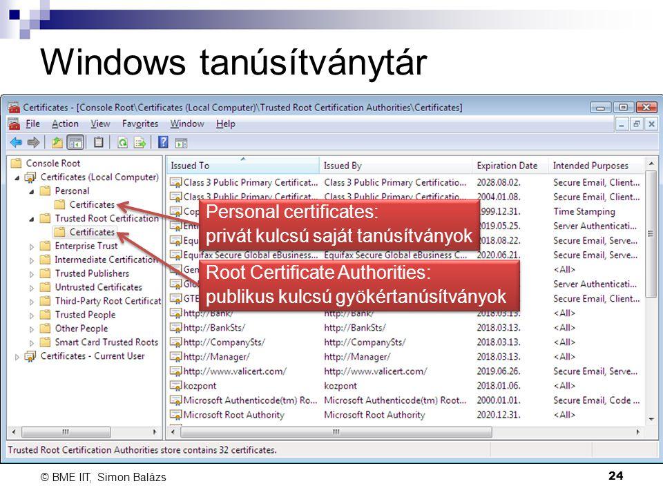 Windows tanúsítványtár 24 © BME IIT, Simon Balázs Root Certificate Authorities: publikus kulcsú gyökértanúsítványok Root Certificate Authorities: publ