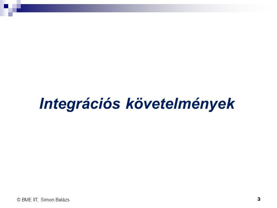 Integrációs követelmények © BME IIT, Simon Balázs 3