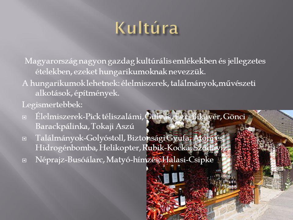Magyarország nagyon gazdag kultúrális emlékekben és jellegzetes ételekben, ezeket hungarikumoknak nevezzük. A hungarikumok lehetnek: élelmiszerek, tal