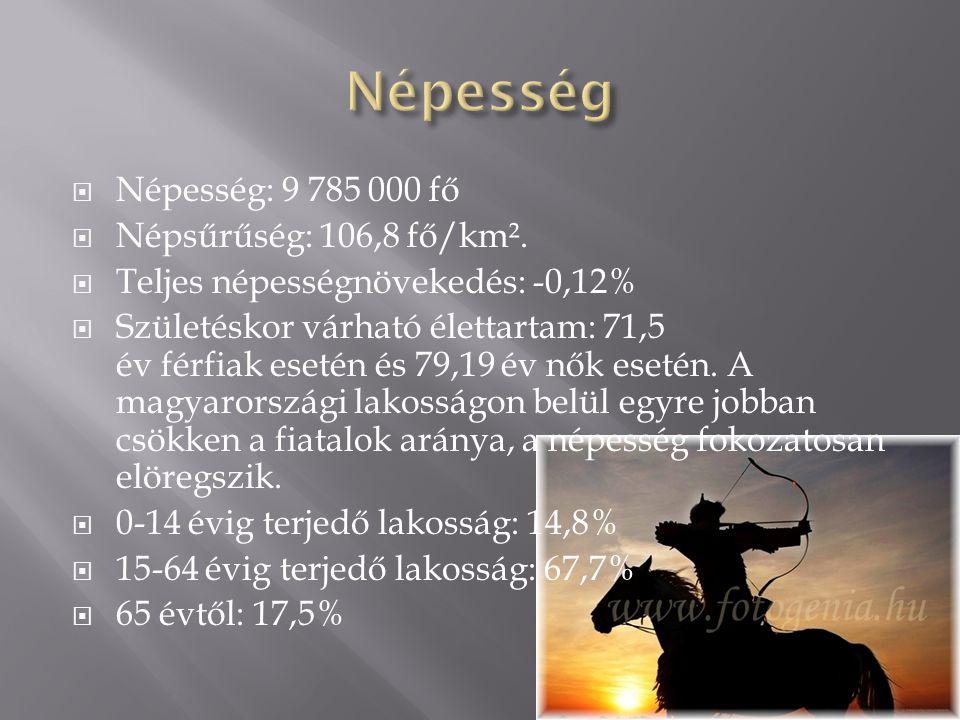  Népesség: 9 785 000 fő  Népsűrűség: 106,8 fő/km².  Teljes népességnövekedés: -0,12%  Születéskor várható élettartam: 71,5 év férfiak esetén és 79