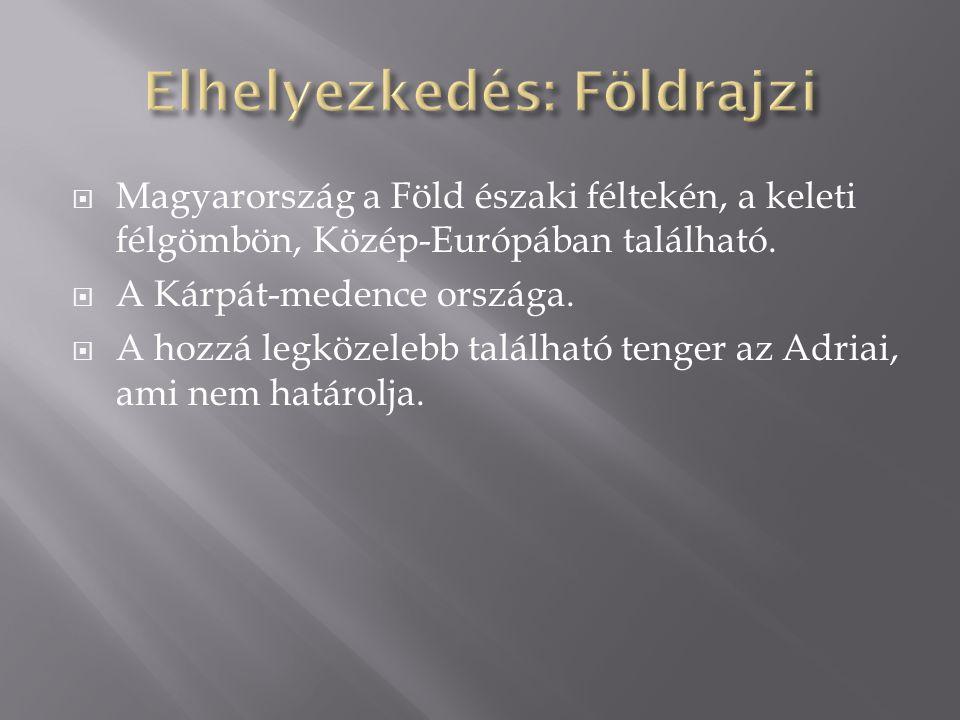  Magyarország a Föld északi féltekén, a keleti félgömbön, Közép-Európában található.  A Kárpát-medence országa.  A hozzá legközelebb található teng