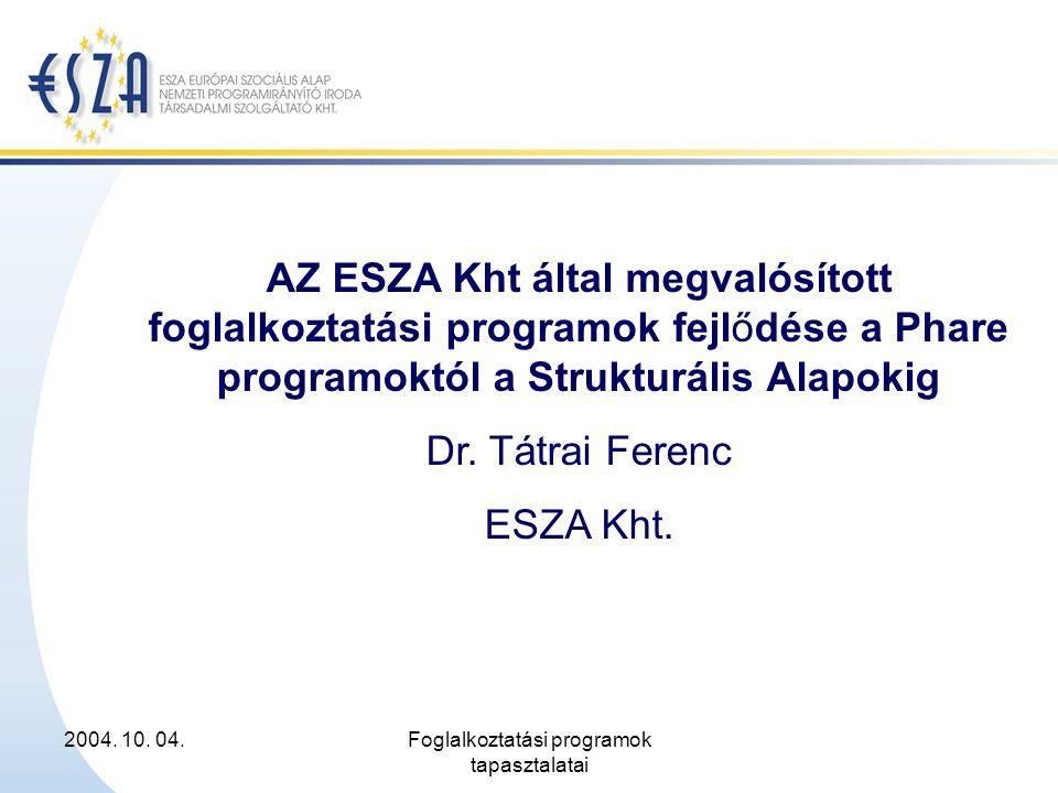 2004. 10. 04.Foglalkoztatási programok tapasztalatai AZ ESZA Kht által megvalósított foglalkoztatási programok fejlődése a Phare programoktól a Strukt