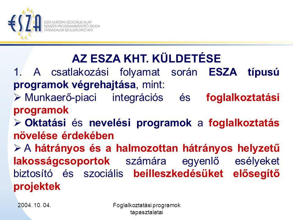 2004. 10. 04.Foglalkoztatási programok tapasztalatai AZ ESZA KHT. KÜLDETÉSE 1. A csatlakozási folyamat során ESZA típusú programok végrehajtása, mint: