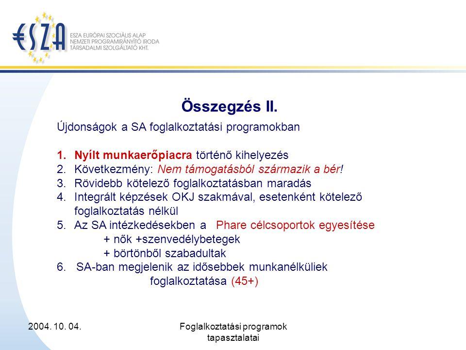 2004. 10. 04.Foglalkoztatási programok tapasztalatai Összegzés II. Újdonságok a SA foglalkoztatási programokban 1.Nyílt munkaerőpiacra történő kihelye