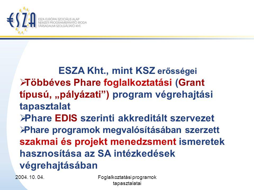 """2004. 10. 04.Foglalkoztatási programok tapasztalatai ESZA Kht., mint KSZ erősségei  Többéves Phare foglalkoztatási (Grant típusú, """"pályázati"""") progra"""
