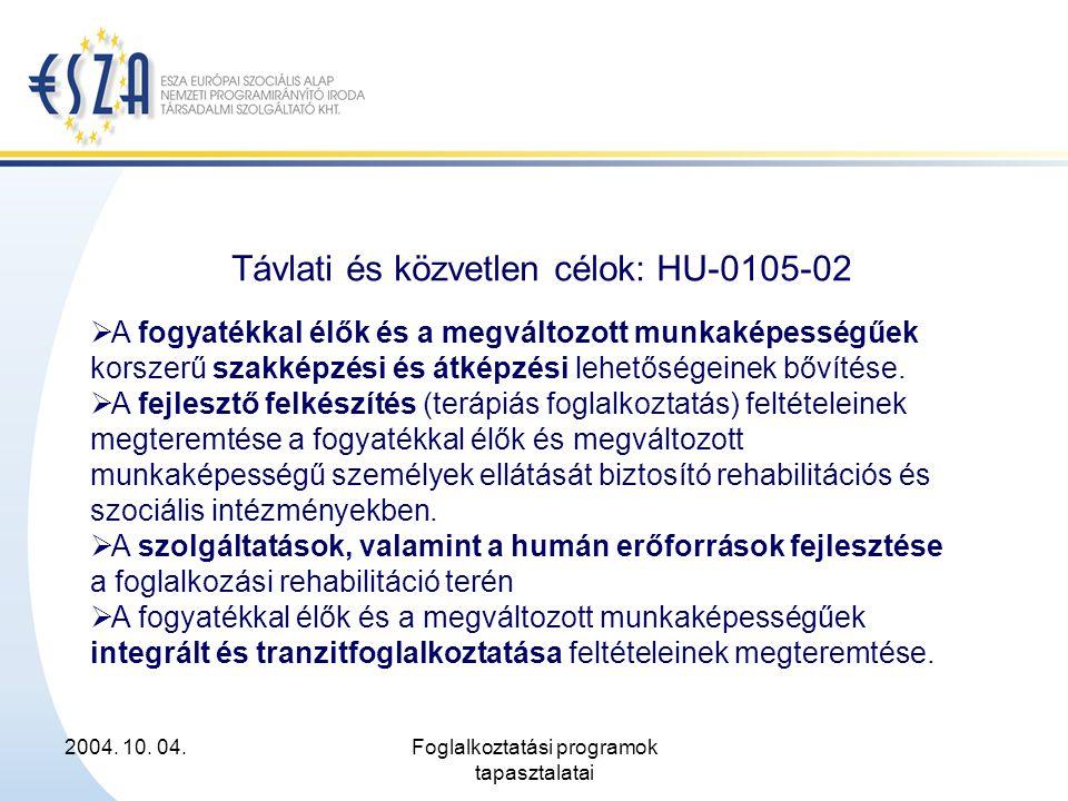 2004. 10. 04.Foglalkoztatási programok tapasztalatai Távlati és közvetlen célok: HU-0105-02  A fogyatékkal élők és a megváltozott munkaképességűek ko