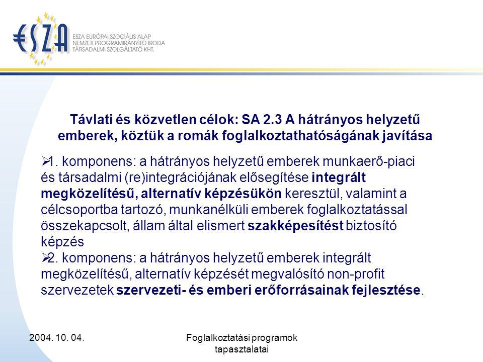 2004. 10. 04.Foglalkoztatási programok tapasztalatai Távlati és közvetlen célok: SA 2.3 A hátrányos helyzetű emberek, köztük a romák foglalkoztathatós