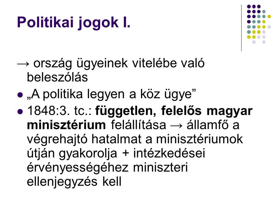 """Politikai jogok I. → ország ügyeinek vitelébe való beleszólás """"A politika legyen a köz ügye"""" 1848:3. tc.: független, felelős magyar minisztérium felál"""
