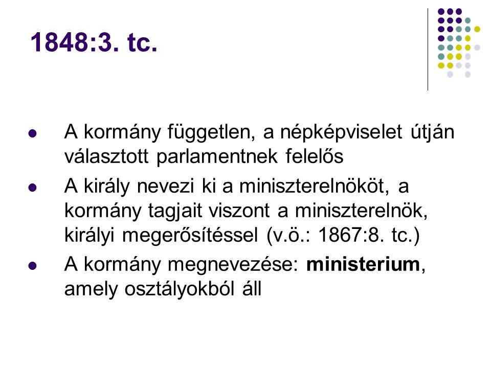 1848:3. tc. A kormány független, a népképviselet útján választott parlamentnek felelős A király nevezi ki a miniszterelnököt, a kormány tagjait viszon