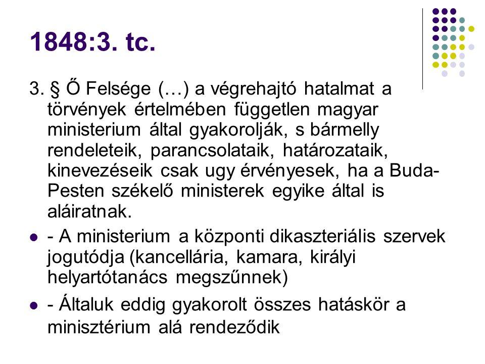 1848:3. tc. 3. § Ő Felsége (…) a végrehajtó hatalmat a törvények értelmében független magyar ministerium által gyakorolják, s bármelly rendeleteik, pa