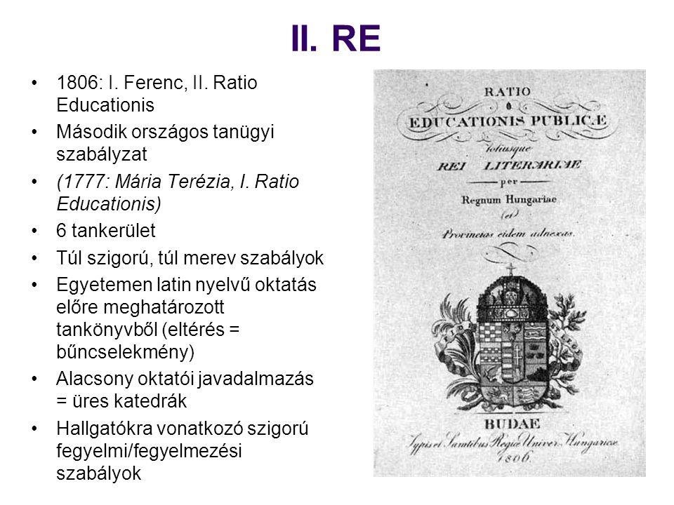 II. RE 1806: I. Ferenc, II. Ratio Educationis Második országos tanügyi szabályzat (1777: Mária Terézia, I. Ratio Educationis) 6 tankerület Túl szigorú