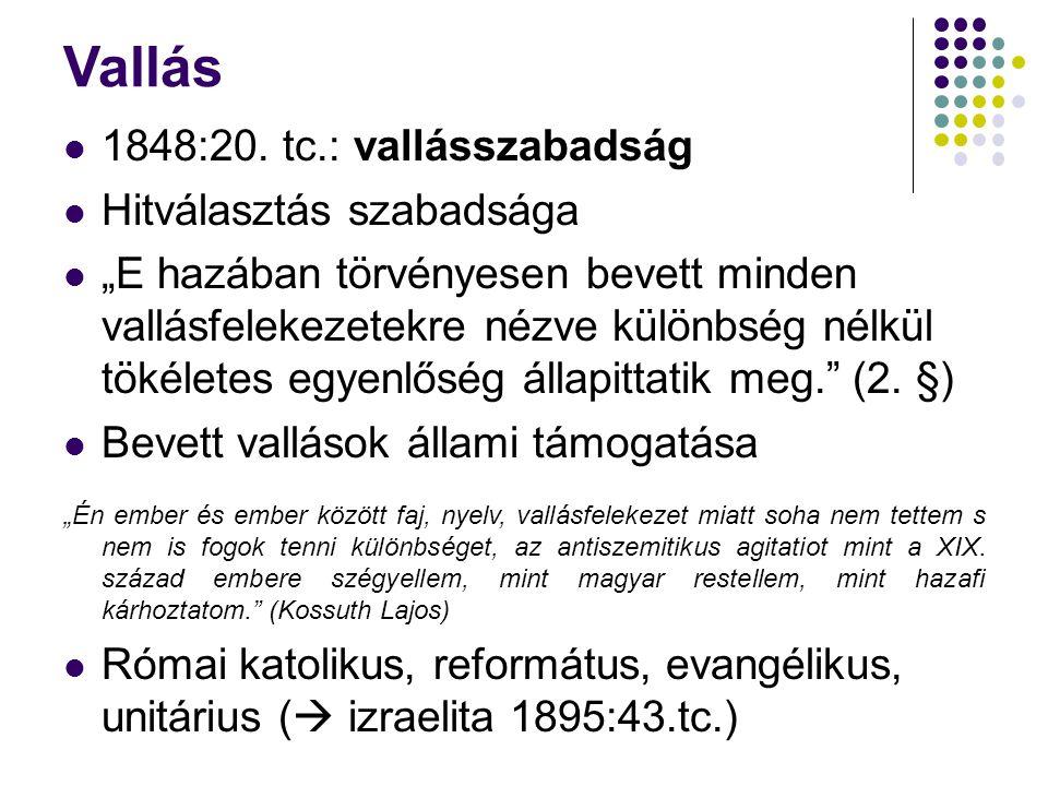 """Vallás 1848:20. tc.: vallásszabadság Hitválasztás szabadsága """"E hazában törvényesen bevett minden vallásfelekezetekre nézve különbség nélkül tökéletes"""