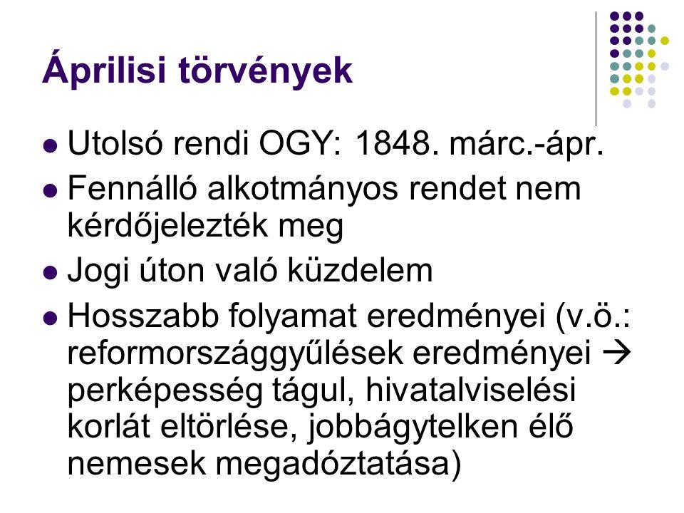 Áprilisi törvények Utolsó rendi OGY: 1848. márc.-ápr. Fennálló alkotmányos rendet nem kérdőjelezték meg Jogi úton való küzdelem Hosszabb folyamat ered