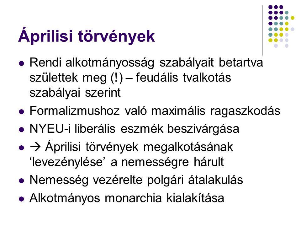 Áprilisi törvények Rendi alkotmányosság szabályait betartva születtek meg (!) – feudális tvalkotás szabályai szerint Formalizmushoz való maximális rag