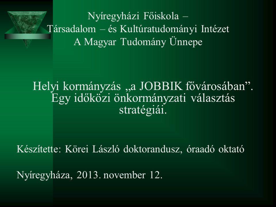 """Nyíregyházi Főiskola – Társadalom – és Kultúratudományi Intézet A Magyar Tudomány Ünnepe Helyi kormányzás """"a JOBBIK fővárosában ."""