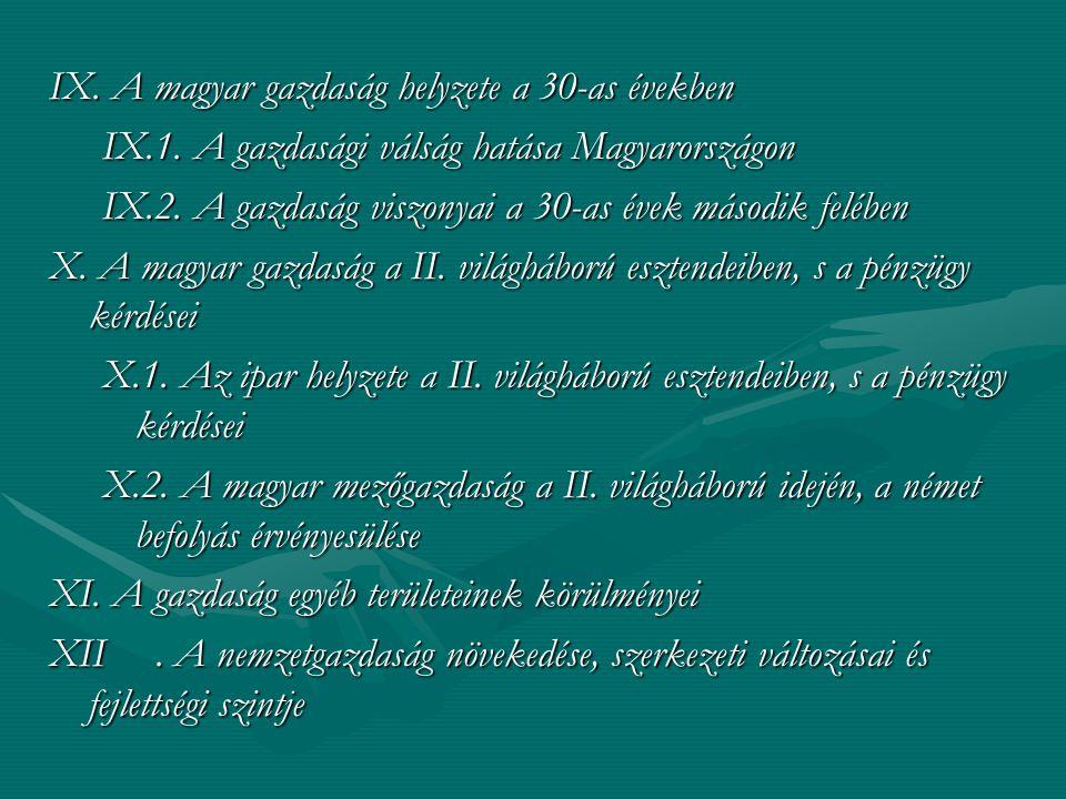 IX. A magyar gazdaság helyzete a 30-as években IX.1. A gazdasági válság hatása Magyarországon IX.2. A gazdaság viszonyai a 30-as évek második felében
