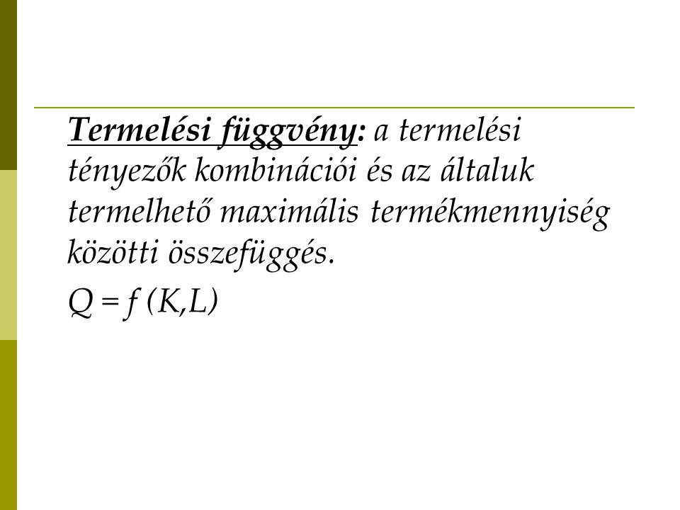 Termelési függvény: a termelési tényezők kombinációi és az általuk termelhető maximális termékmennyiség közötti összefüggés. Q = f (K,L)