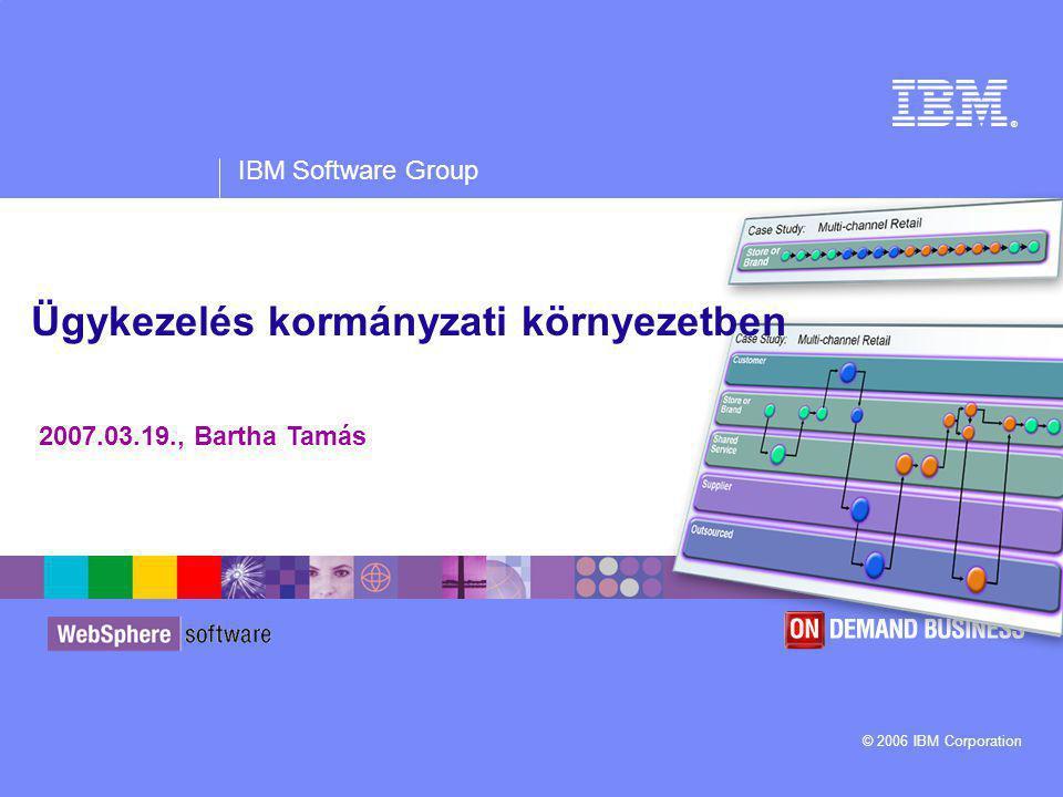 IBM Software Group | WebSphere software 2 Az ügykezelés részei Ügyindítás Érkeztetés, iktatás Folyamatkezelés Dokumentum- kezelés Ügykövetés Irattározás Levelezés Nyomtatvány- kezelés