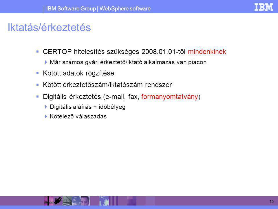 IBM Software Group | WebSphere software 15 Iktatás/érkeztetés  CERTOP hitelesítés szükséges 2008.01.01-től mindenkinek  Már számos gyári érkeztető/i