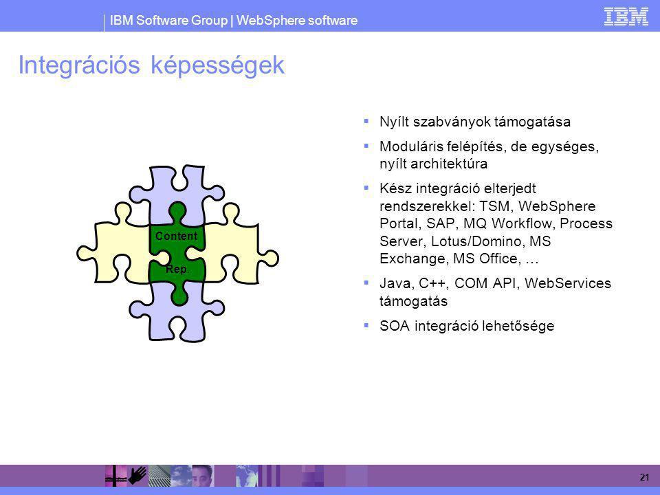 IBM Software Group | WebSphere software 21 Integrációs képességek  Nyílt szabványok támogatása  Moduláris felépítés, de egységes, nyílt architektúra