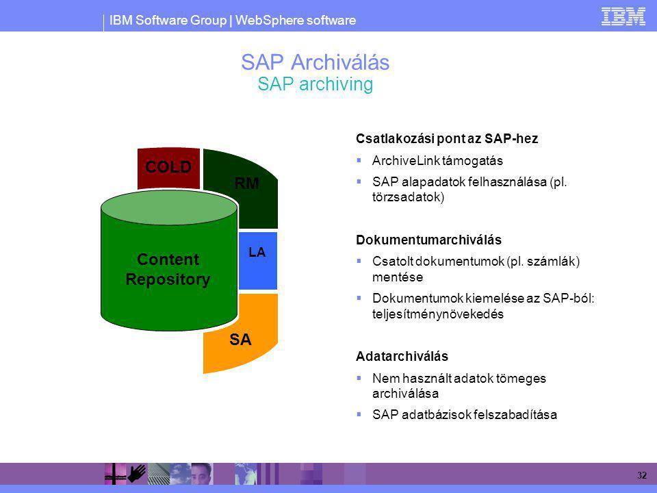 IBM Software Group | WebSphere software 32 SAP Archiválás SAP archiving Csatlakozási pont az SAP-hez  ArchiveLink támogatás  SAP alapadatok felhaszn